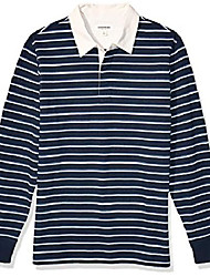 cheap -amazon brand - men's long-sleeve rugby polo shirt, navy denim blue double stripe, medium