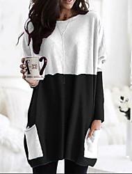 cheap -Women's Shift Dress Short Mini Dress - Long Sleeve Print Color Block Patchwork Print Fall Plus Size Casual Slim 2020 Black Yellow Wine S M L XL XXL 3XL 4XL 5XL