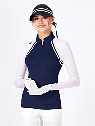 cheap -Women's Golf Tee Tshirt Zip Top Long Sleeve Breathable Quick Dry Soft Sports Outdoor Autumn / Fall Winter Spring Cotton Half Zip Royal Blue / Stretchy