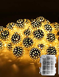 cheap -DIY Outdoor Christmas Lights Waterproof AA Battery Box String Lights Strand Metal Moroccan Lighting 30-50 LEDs Ornament LED Seasonal Rope Lights for Garden Wedding PartyIndoor Christmas
