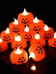 cheap -LED Halloween Pumpkin Night Light Flameless Candles with Flickering Bulb LED Tea Lights for Halloween Christmas Festival Wedding Theme Party