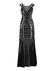 cheap -The Great Gatsby Charleston Retro Vintage 1920s Vacation Dress Flapper Dress Ball Gown Prom Dress Women's Sequin Costume Black Vintage Cosplay Party Homecoming Prom