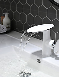cheap -Bathroom Sink Faucet - White and Chrome Basin Faucet Waterfall Painted Finishes Centerset Single Handle One Hole Bath Vanity Vessel Sink Mixer Taps for Hotel / Home Shower Room