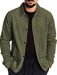 cheap -mens corduroy jacket,vintage button-front solid casual corduroy military lapel jackets shirt with pocket army green
