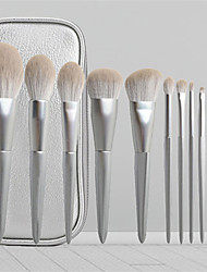 cheap -12 Sets of Makeup Brush Sets for Beginners A Full Set of Beauty Tools Silver Gray Soft Fur New Set of Brushes