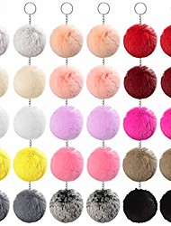 cheap -30pcs faux fur ball pom poms keychains pom poms keychains fluffy faux fur pompoms balls for girls women hats shoes bags accessories (15 colors, 8cm/3.1'')