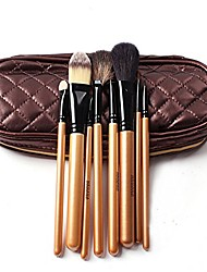 cheap -8 piece goat/pony hair professional cosmetic makeup brushes kit by megaga for lip and eye-shadow and face with beautiful travel pouch case