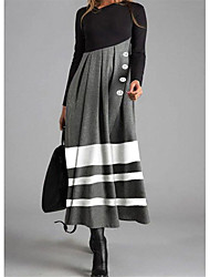 cheap -Women's Shift Dress Maxi long Dress - Long Sleeve Striped Color Block Button Fall Winter Casual 2020 Gray M L XL XXL 3XL