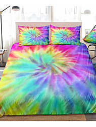cheap -Colorful Rainbow Tie Dye Bedding Tie Dyed Duvet Cover Set Orange Blue Psychedelic Swirl Pattern Printed Boho Hippie Bedding Sets Queen King Size Include 1 Duvet Cover and 1 or 2 Pillowcases