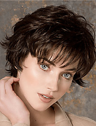 cheap -Synthetic Wig Curly With Bangs Wig Short Dark Brown Synthetic Hair Women's Classic Exquisite Comfy Dark Brown