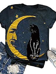 cheap -women stay wild moon child star black cat starry sky tie dye t-shirt fashion short sleeve tee