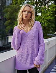 cheap -Women's Basic Knitted Solid Color Plain Sweater Acrylic Fibers Cotton Long Sleeve Sweater Cardigans V Neck Fall Winter Purple