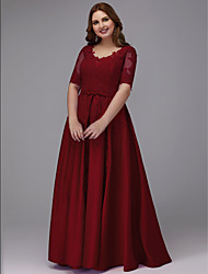 cheap -A-Line Plus Size Red Prom Formal Evening Dress V Neck Half Sleeve Floor Length Lace Satin with Sash / Ribbon Appliques 2020