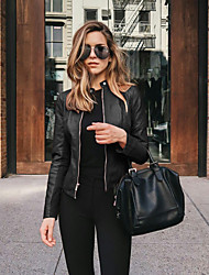cheap -Women's Outerwear Solid Color Classic Style Classic & Timeless Fall Faux Leather Jacket Dailywear PU Coat Tops #Navy