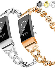 cheap -Bling Crystal Metal Stainless Steel Watch Band for Fitbit Charge 2 / Fitbit Charge 3 / Fitbit Charge 4 Replaceable Bracelet Wrist Strap Wristband