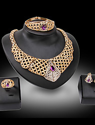cheap -Women's Jewelry Set Bridal Jewelry Sets Geometrical Precious Fashion Gold Plated Earrings Jewelry Purple For Christmas Wedding Halloween Party Evening Gift 1 set