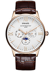cheap -SMAEL Men's Dress Watch Quartz Stylish Casual Large Dial Analog Black Black / Brown Brown / One Year / Leather