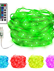 cheap -10m String Lights 100 LEDs EL 2pcs 1pc Multi Color Halloween Christmas Waterproof Outdoor Party USB Powered AA Batteries Powered