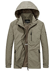 cheap -Men's Coat Parka Casual / Daily Solid Color Polyester Black / khaki / Army Green M / L / XL