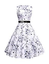 cheap -Women's A-Line Dress Knee Length Dress - Sleeveless Floral Lace up Print Summer Fall Elegant Vintage Slim 2020 White S M L XL XXL
