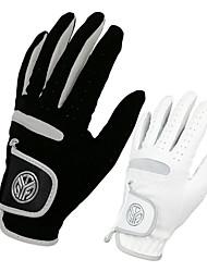 cheap -Golf Glove left Golf Full Finger Gloves Men's Anti-Slip UV Sun Protection Breathable Microfiber Training Outdoor Competition White Black / Sweat wicking