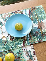 cheap -Placemat Mori Series Of Green Plants Original Design Cotton And Linen Placemat Insulation Pad Coaster Dining Table 4pcs
