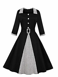 cheap -women's 3/4 sleeves plaid fall winter 50s vintage work dress black m