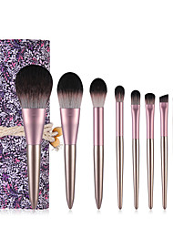 cheap -9 Pcs small pudding makeup brush set small grape powder brush blush brush eye shadow brush full set of beauty tools