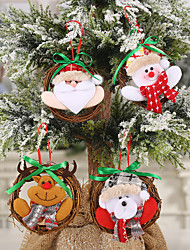 cheap -Christmas Decoration Supplies Green Bowknot Doll Small Rattan Ring Pendant Doll Garland