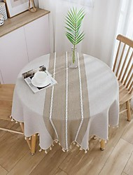 cheap -Japanese Style Cotton And Linen Small Fresh Tablecloth Literary Round Table Coffee Table Table Cloth