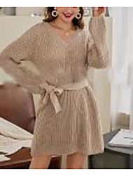 cheap -women's sweater jumper dress short mini dress - long sleeve solid color lace up patchwork fall v neck casual going out slim 2020 khaki s m l