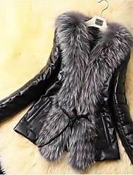 cheap -Women's Down Parka Plus Size Solid Colored Faux Fur Black S / M / L