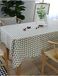 cheap -Cotton Linen Tablecloth Fabric Rectangular Geometry Pastoral Coffee Table Tablecloth Round Table Square Dining Table Cover