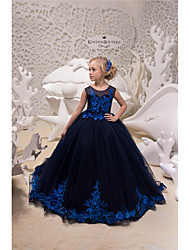 cheap -Princess / Ball Gown Sweep / Brush Train Party / Wedding Flower Girl Dresses - Tulle Sleeveless Jewel Neck with Appliques