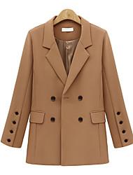 cheap -Women's Solid Colored Active Fall & Winter Notch lapel collar Coat Regular Daily Long Sleeve Fleece Coat Tops Black