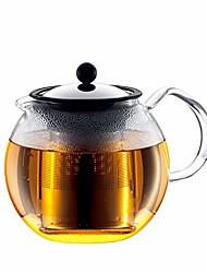 cheap -assam tea press, permanent filter, glass handle, 1.0 l/34 oz -black, stainless steel