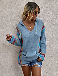 cheap -Women's Stylish Knitted Color Block Pullover Long Sleeve Sweater Cardigans Hooded Fall Winter White Blue Orange