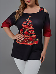 cheap -Women's Plus Size Blouse Shirt Snowflake Sequins Patchwork Boat Neck Tops Basic Basic Top Black