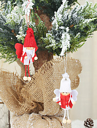 cheap -2pcs Christmas Decorations Red And White Wings Little Angel Pendant Creative Doll Ornaments