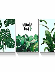 """cheap -- 3 piece canvas wall art green leaves painting artwork for living room modern home decor stretched and framed ready to hang - 12""""x16""""x3 panels wall decor"""