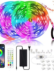cheap -LED Strip Lights for Bluetooth 20M-15M 600-450 RGB Strip Lights SMD5050 AppRemote Flexible Strip Lights Built-in Mic Rope Music Smart Lights for Home Room Kitchen tv Decoration