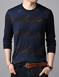 cheap -Men's Cardigan Pullover Sweater Knitted Braided Striped Color Block Stylish Wedding Acrylic Fibers Long Sleeve Sweater Cardigans Crew Neck Fall Winter Blue Red