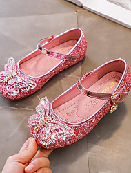 cheap -Girls' Flats Comfort Flower Girl Shoes Princess Shoes Patent Leather PU Little Kids(4-7ys) Daily Party & Evening Walking Shoes Rhinestone Crystal Bowknot Pink Silver Fall Spring
