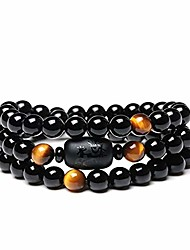 cheap -natural crystal obsidian stone bead with tiger eye bracelet 8mm multi circle dragon totem ladies men jewelry (tiger eye)