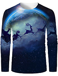 cheap -Men's 3D Graphic Animal T-shirt Print Long Sleeve Christmas Tops Round Neck Blue