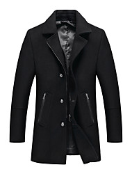 cheap -men's  pea coat winter trench blend short silm fit zipper pockets single breasted classic stylish jacket