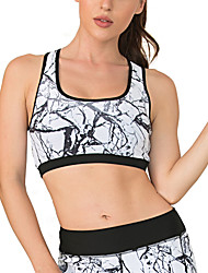 cheap -Women's Sports Bra Light Support Summer Removable Pad Wireless Floral Print Black with White Yoga Fitness Running Top Sport Activewear Breathable Quick Dry Comfortable Freedom Micro-elastic / Winter