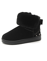 cheap -Women's Boots Snow Boots Flat Heel Round Toe Booties Ankle Boots Casual Daily Suede Rivet Solid Colored Black Pink Green / Booties / Ankle Boots / Booties / Ankle Boots