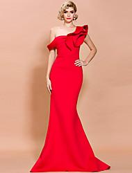 cheap -Mermaid / Trumpet Elegant Sexy Prom Formal Evening Dress One Shoulder Sleeveless Sweep / Brush Train Spandex with Ruffles 2020