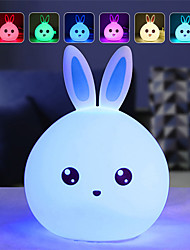 cheap -Adorable Silicone Rabbit Seven Color Night Light Dreamy Creative Rabbit Night Light For Bedroom LED Night Light